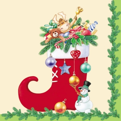 Nouveau Horeca,  Weihnachten - Baumschmuck,  Winter - Schneemänner,  Weihnachten - Nikolausstiefel,  Weihnachten,  lunchservietten,  Schneemann