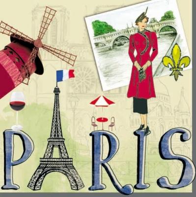Servietten / Länder,  Menschen - Personen,  Regionen - Länder - Städte,  Regionen - Länder - Frankreich,  Everyday,  lunchservietten,  Paris