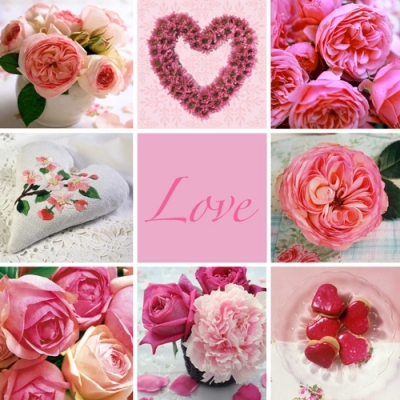 Nouveau Horeca,  Blumen - Rosen,  Everyday,  lunchservietten,  Rosen,  Herz,  Liebe