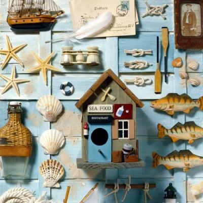 Lunch Servietten Nautica,  Tiere - Fische,  Regionen - Strand / Meer - Schiffe,  Regionen - Strand / Meer - Muscheln,  Everyday,  lunchservietten,  Fische,  Schiff,  Muscheln