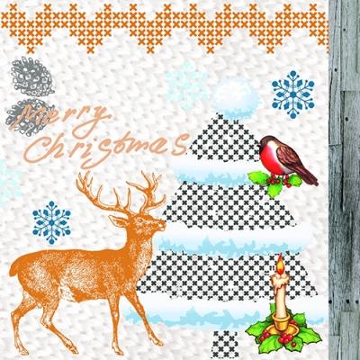 Servietten / Kerzen, Weihnachten - Kerzen,  Tiere - Vögel,  Tiere - Reh / Hirsch,  Winter - Kristalle / Flocken,  Weihnachten,  lunchservietten,  Kerzen,  Tannenbaum,  Hirsch,  Vögel