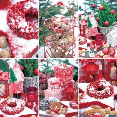 Lunch Servietten Winterberries ,  Früchte - Zapfen,  Früchte - Äpfel,  Weihnachten - Weihnachtsmann,  Weihnachten,  lunchservietten,  Geschenke,  Laterne,  Schnee,  Kerzen