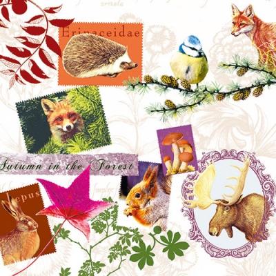 Servietten Herbst,  Tiere - Igel,  Tiere - Vögel,  Tiere - Eichhörnchen,  Herbst,  lunchservietten,  Blätter,  Vögel,  Fuchs