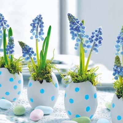 Lunch Servietten Easter Breakfast,  Ostern - Ostereier,  Blumen - Hyazinthen,  Ostern,  lunchservietten,  Ostereier,  Blumen