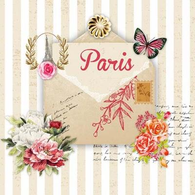 Lunch Servietten Lettre de Paris ,  Sonstiges - Schriften,  Tiere - Schmetterlinge,  Blumen - Rosen,  Everyday,  lunchservietten,  Schmetterlinge,  Schriften,  Rosen