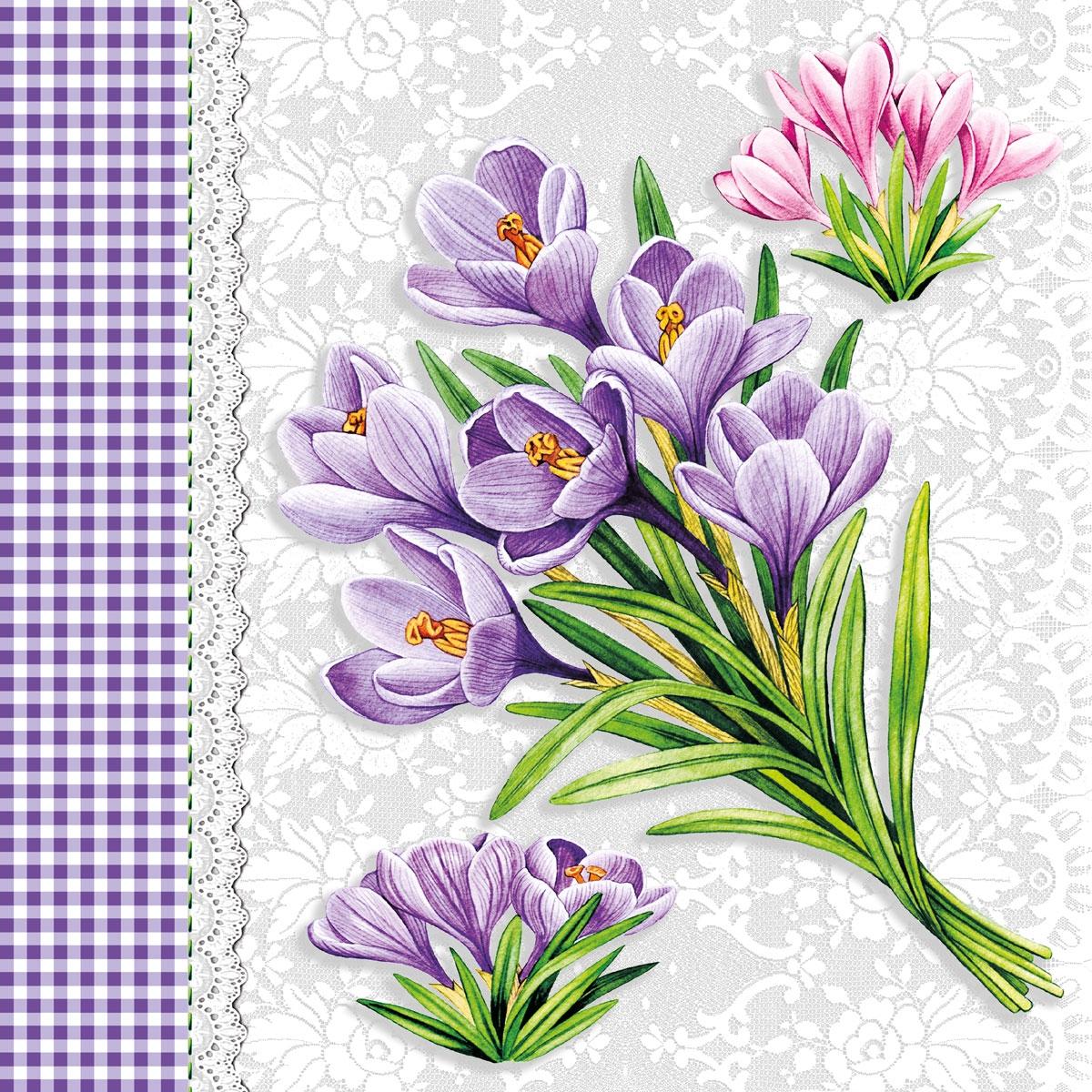 Servietten nach Jahreszeiten,  Blumen - Krokus,  Everyday,  lunchservietten,  Krokus