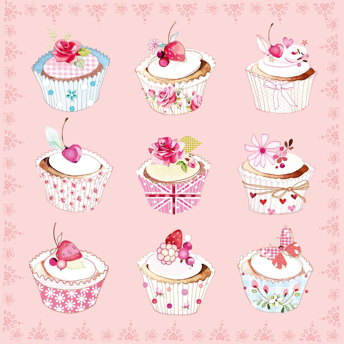 Servietten / Kuchen - Keks,  Essen - Kuchen / Keks,  Essen - Süßigkeiten,  Blumen -  Sonstige,  Everyday,  cocktail servietten,  Kirschen,  Rosen,  Schmetterling