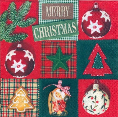 Cocktail Servietten Country X-Mas,  Weihnachten - Baumschmuck,  Weihnachten - Weihnachtsbaum,  Weihnachten,  cocktail servietten,  Baumkugeln,  Weihnachtsbaum