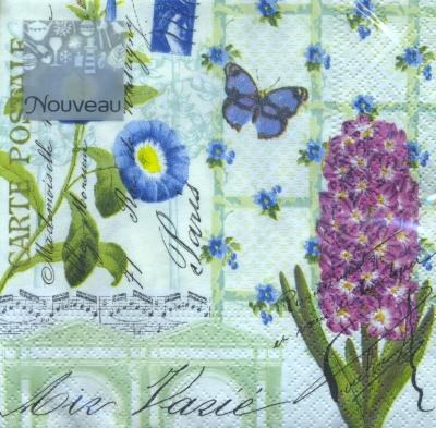Servietten Frühjahr,  Tiere - Schmetterlinge,  Blumen - Hyazinthen,  Everyday,  cocktail servietten,  Schmetterlinge,  Blumen
