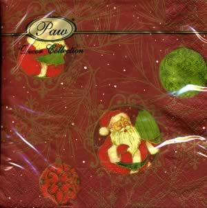 Lunch Servietten Santa Claus dark red,  Weihnachten - Weihnachtsmann,  Weihnachten - Baumschmuck,  lunchservietten
