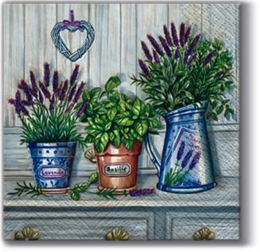 Windlichter / Kerzen,  Pflanzen - Küchenkräuter,  Blumen - Lavendel,  Everyday,  cocktail servietten,  Lavendel,  Basilikum