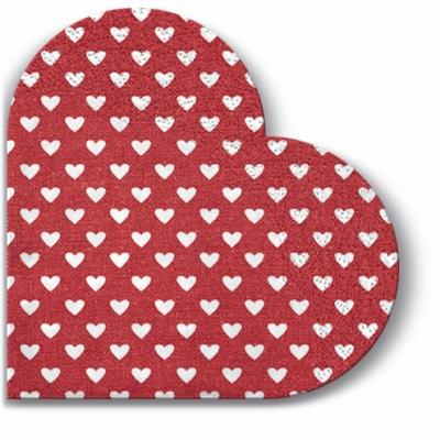 Servietten - Rund Hearts (red) , servietten,  Herzen