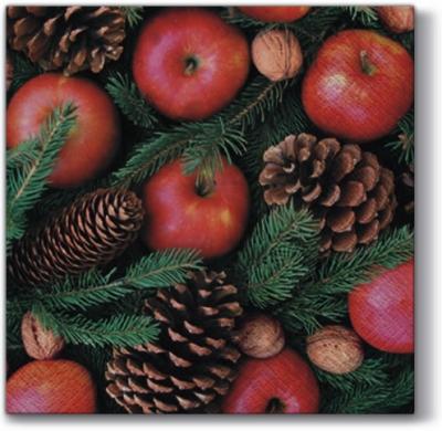 Lunch Servietten Aroma of Christmas,  Früchte - Zapfen,  Früchte - Nüsse,  Früchte - Äpfel,  Weihnachten,  lunchservietten,  Tannenzweige