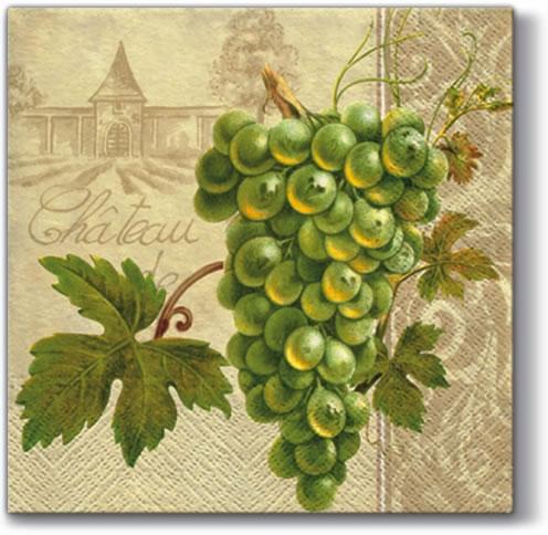 20 Servietten - 33 x 33 cm WINERY,  Getränke - Wein / Sekt,  Früchte - Weintrauben,  Everyday,  lunchservietten