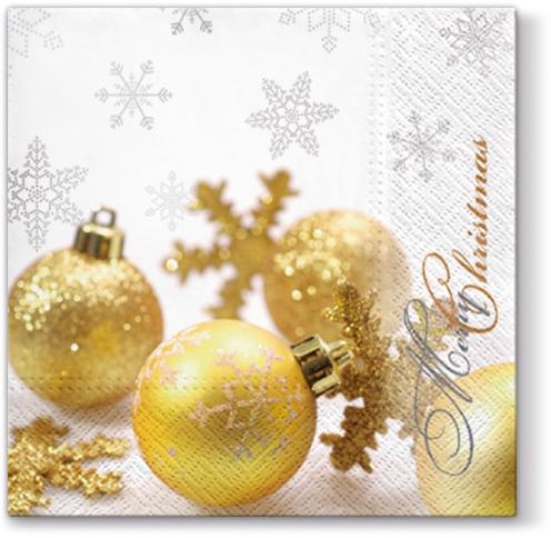 Lunch Servietten Glittering Christmas,  Winter - Kristalle / Flocken,  Weihnachten - Baumschmuck,  Weihnachten,  lunchservietten,  Baumkugeln,  Schneeflocken