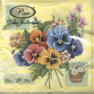 20 Servietten - 33 x 33 cm COLORFUL PANSIES,  Blumen - Stiefmütterchen,  lunchservietten