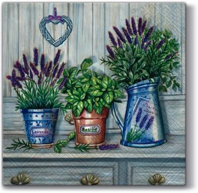 Dekorkerzen - rund - groß,  Pflanzen - Küchenkräuter,  Blumen - Lavendel,  Everyday,  lunchservietten,  Lavendel,  Basilikum