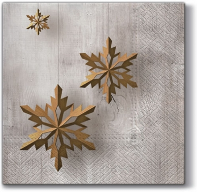 Lunch Servietten Snowflake on Wood,  Weihnachten - Sterne,  Weihnachten,  lunchservietten,  Sterne