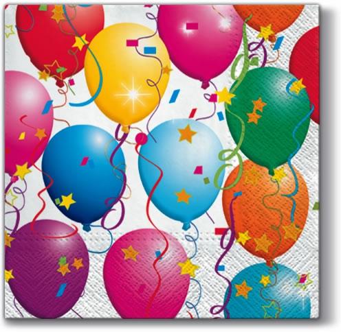 Servietten 33 x 33 cm,  Ereignisse - Geburtstag,  Ereignisse - Feier,  Weihnachten,  lunchservietten,  Party,  Geburtstag,  Luftballon
