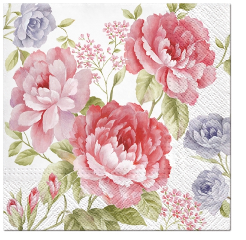 Servietten 25 x 25 cm,  Blumen - Rosen,  Everyday,  lunchservietten,  Rosen