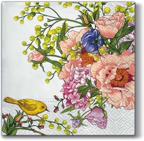 PAW Sp. z o.o.,  Tiere - Vögel,  Blumen -  Sonstige,  Everyday,  lunchservietten,  Vögel,  Blumenstrauß