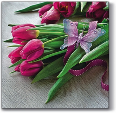 Lunch Servietten Fuchsia Tulips ,  Blumen - Tulpen,  Everyday,  lunchservietten,  Tulpen