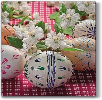 Lunch Servietten Eggs on Chequered ,  Ostern - Ostereier,  Ostern,  lunchservietten,  Ostereier