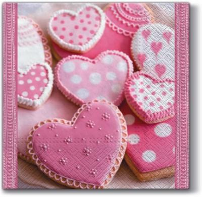 Lunch Servietten HEART CAKES, Essen - Kuchen / Keks,  Essen - Süßigkeiten,  Ereignisse - Liebe,  Everyday,  lunchservietten,  Herzen,  Plätzchen