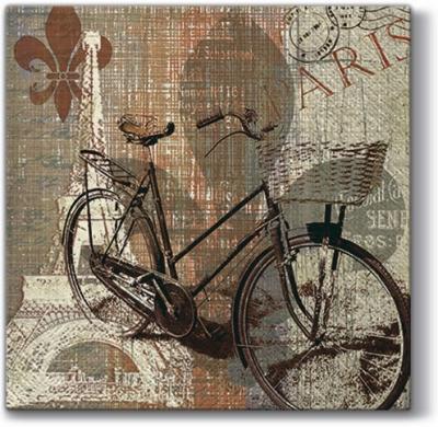 Lunch Servietten My Old-Fashioned Bike,  Fahrzeuge - Fahrräder,  Sonstiges -  Sonstiges,  Everyday,  lunchservietten,  Paris,  Fahrrad,  Schriften,  Muster