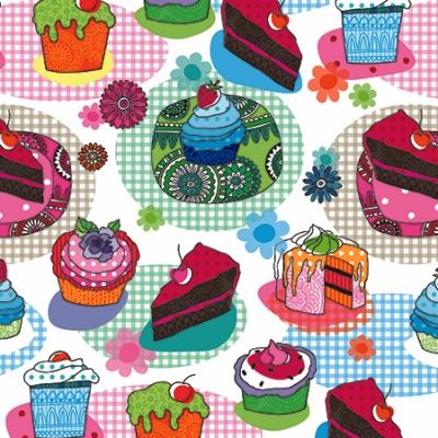 Lunch Servietten Tasty Cupcakes,  Sonstiges - Muster,  Essen - Kuchen / Keks,  Ereignisse -  Sonstige,  Everyday,  lunchservietten,  Muster,  Kuchen,  Blumen,  Früchte