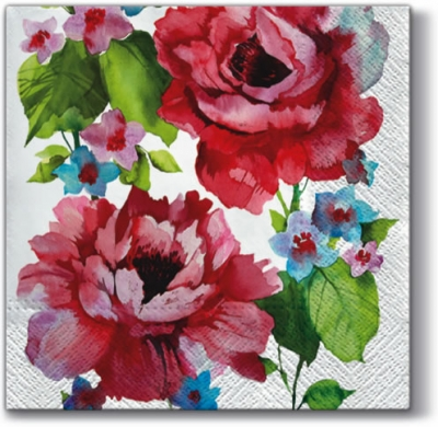 Lunch Servietten  Watercolor Roses,  Blumen - Rosen,  Everyday,  lunchservietten,  Rosen