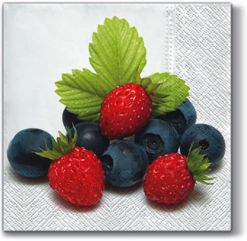 Lunch Servietten Fresh Fruits,  Früchte - Erdbeeren,  Früchte -  Sonstige,  Everyday,  lunchservietten,  Himbeeren