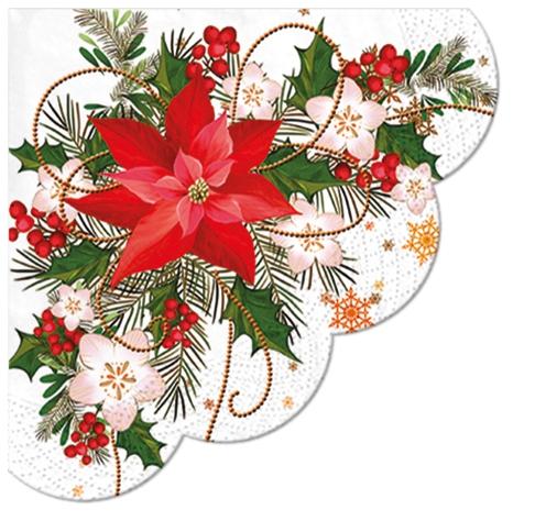 Servietten - Rund Poinsettia Composition
