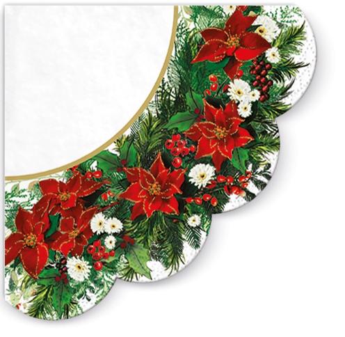 Servietten - Rund Poinsettia Wreath (white)