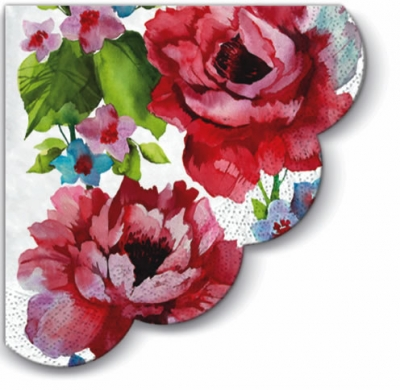 Servietten - Rund Watercolor Roses - 3-lagig, servietten,  Rosen