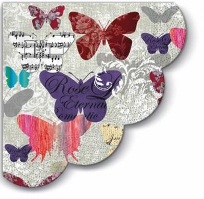 Servietten - Rund Romantic Butterflies - 3-lagig