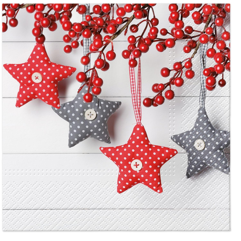 Lunch Servietten Gray-Red Stars