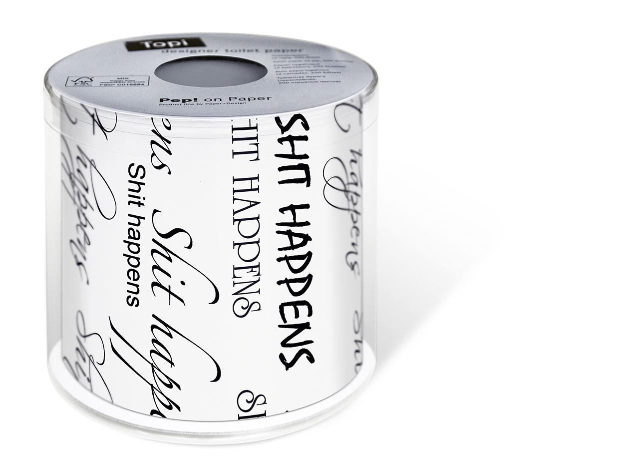 1 Rolle bedrucktes Toilettenpapier - 3-lagig - 200 Blatt Shit happens,  Everyday,  bedrucktes Toilettenpapier,  Schriftzug