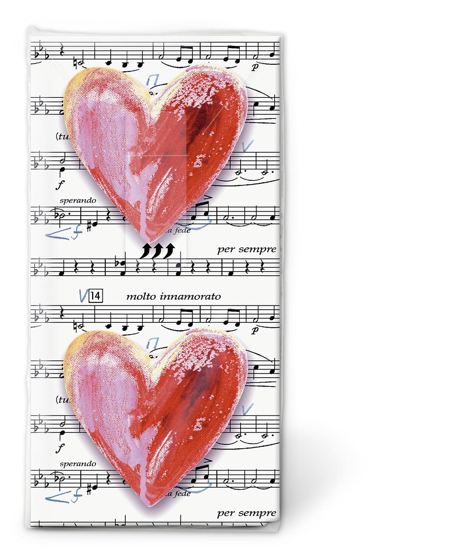 10 bedruckte Taschentücher Lovesong,  Ereignisse,  Sonstiges,  Everyday,  bedruckte papiertaschentücher,  Liebe,  Herzen,  Noten