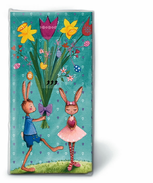 10 bedruckte Taschentücher TT Easter party,  Tiere,  Blumen,  Ostern,  bedruckte papiertaschentücher,  Blumen,  Hasen