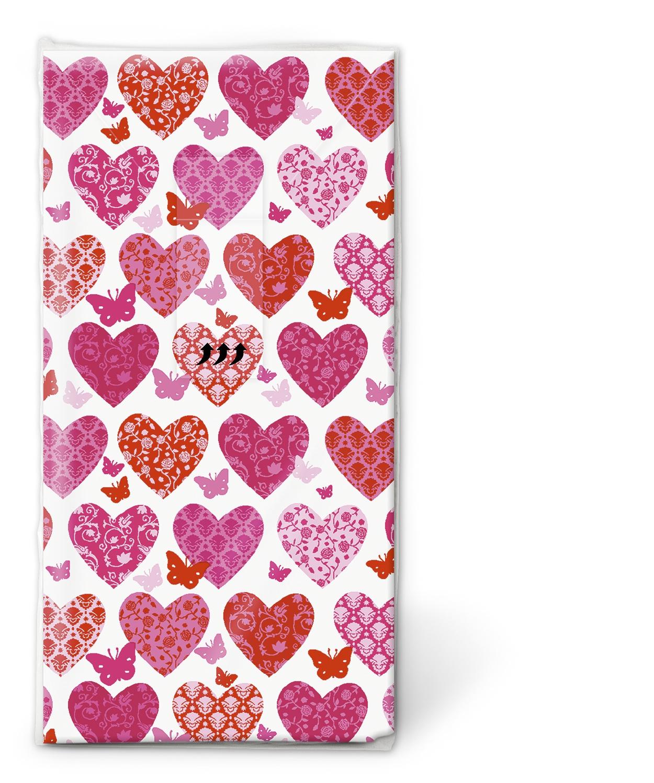 Taschentücher / Motive,  Ereignisse,  Everyday,  bedruckte papiertaschentücher,  Liebe,  Herzen,  Schmetterlinge