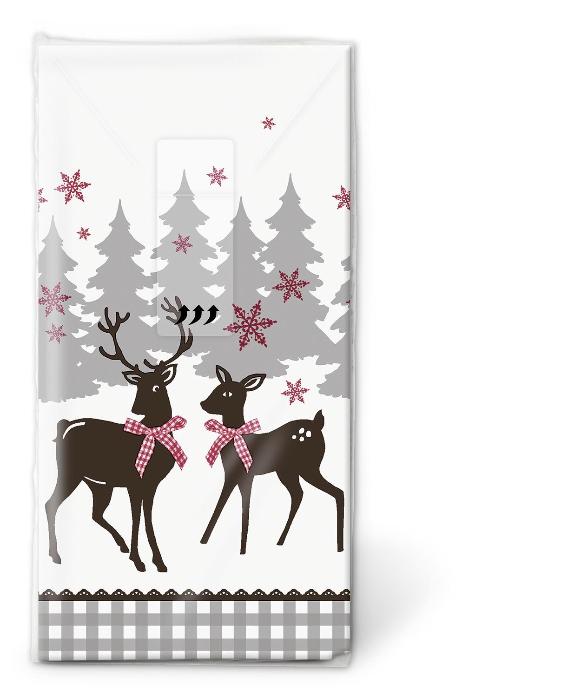 Taschentücher TT Lovely deer,  Tiere,  Weihnachten,  bedruckte papiertaschentücher,  Hirsch,  Schneeflocken