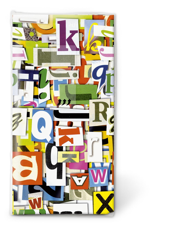 Paper+Design,  Everyday,  bedruckte papiertaschentücher,  Buchstaben,  Alphabet