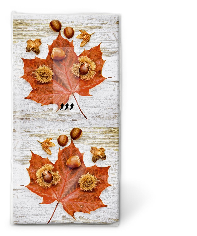 Taschentücher / Weihnachten,  Herbst,  bedruckte papiertaschentücher,  Ahorn,  Laubblätter