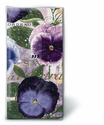Dekorkerzen - rund - groß,  Blumen,  Everyday,  bedruckte papiertaschentücher,  Stiefmütterchen