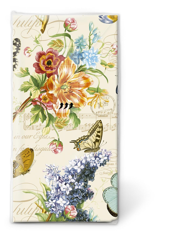 Taschentücher TT Vintage summer,  Tiere,  Blumen,  Everyday,  bedruckte papiertaschentücher,  Schmetterlinge,  Flieder