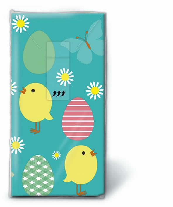 Taschentücher TT Easter allover,  Tiere,  Ostern,  bedruckte papiertaschentücher,  Ostereier,  Küken