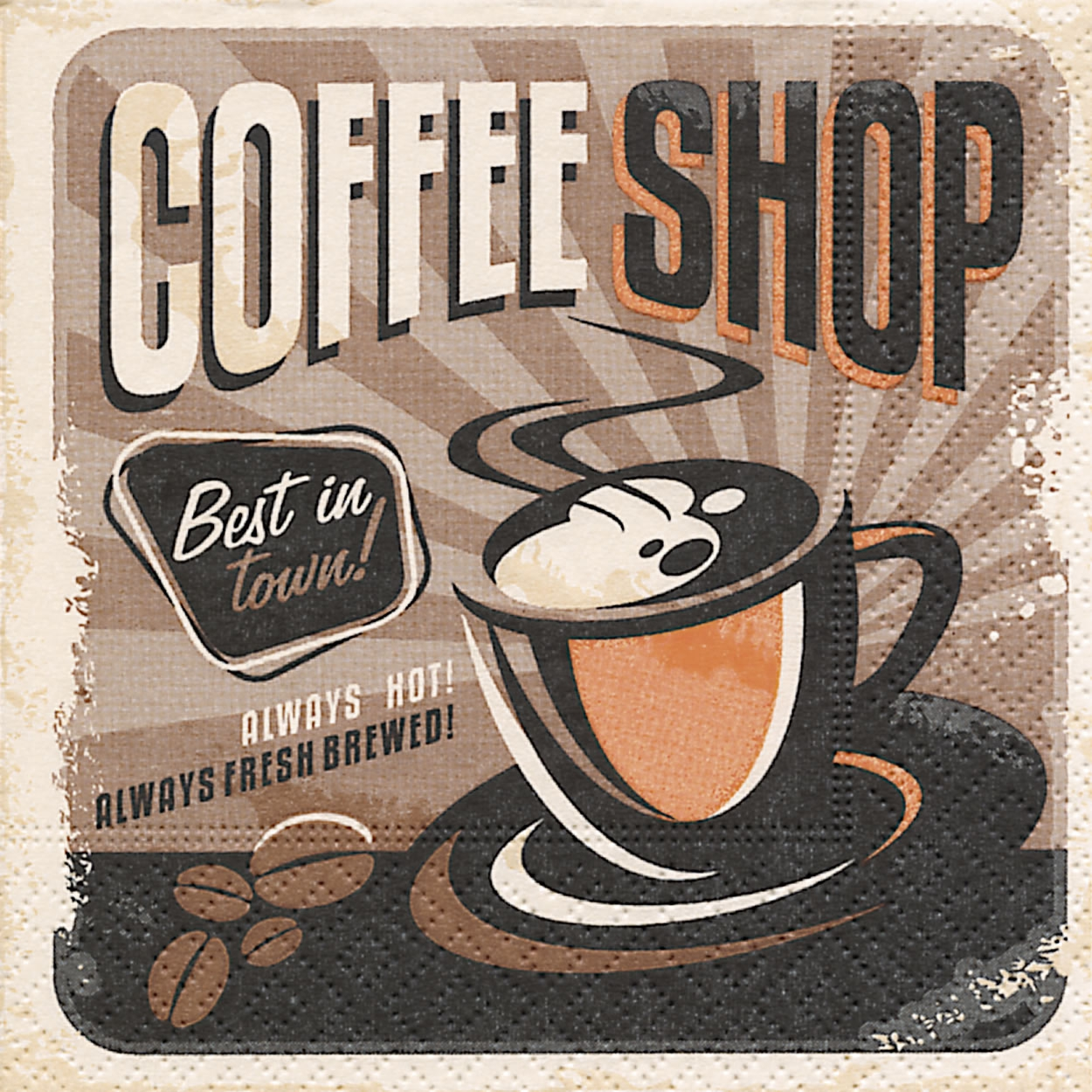 Cocktail Servietten Coffee shop,  Sonstiges - Schriften,  Getränke Kaffee / Tee,  Everyday,  cocktail servietten,  Kaffee,  Schriften