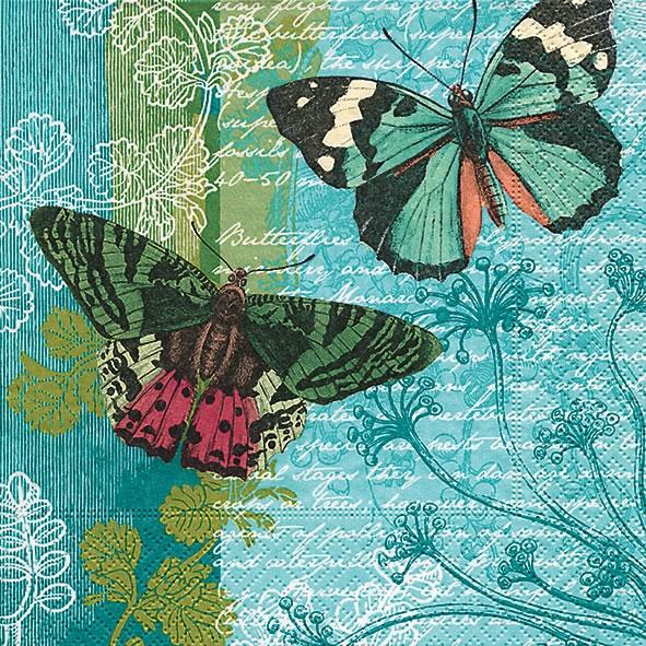 Sommer,  Pflanzen,  Tiere - Schmetterlinge,  Everyday,  cocktail servietten,  Schmetterlinge,  Pflanzen