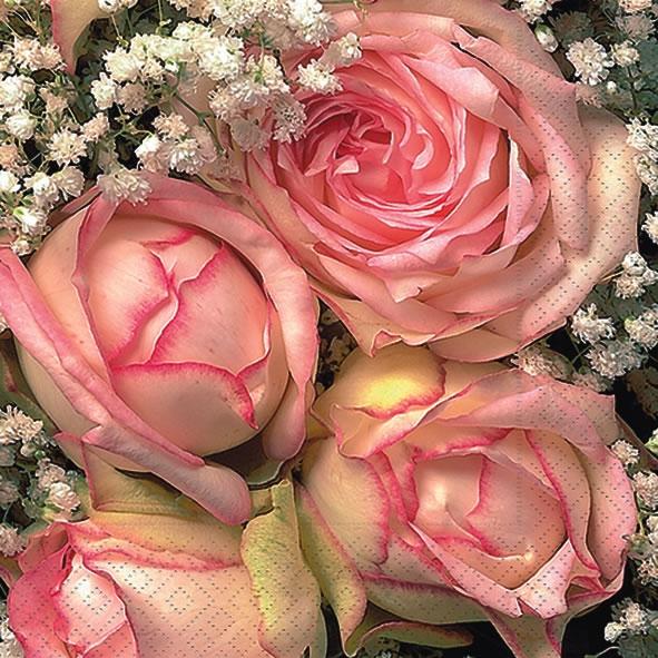 20 Servietten - 25 x 25 cm Royal flower,  Ereignisse - Hochzeit,  Blumen,  Blumen - Rosen,  Everyday,  cocktail servietten,  Rose Rosenstrauß